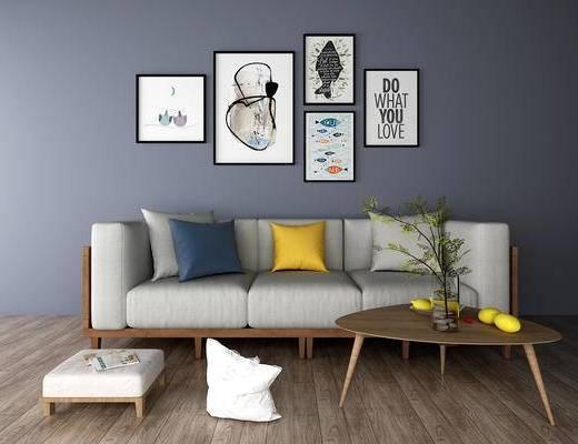 多人沙发, 茶几, 挂画, 北欧
