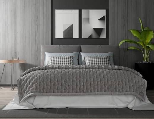 双人床, 壁画, 边几, 盆栽, 现代