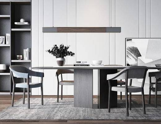 桌椅组合, 桌子, 椅子, 置物柜, 吊灯, 现代