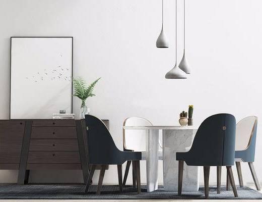 现代简约, 桌椅组合, 吊灯, 植物, 柜