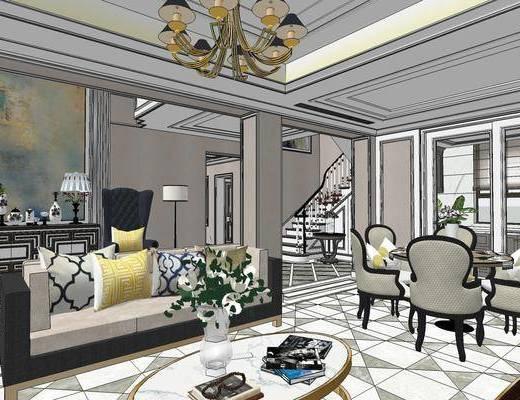 美式别墅, 别墅, 客厅餐厅