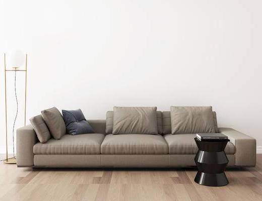沙发组合, 多人沙发, 圆几, 落地灯, 现代