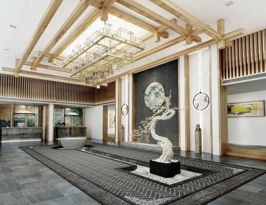 新中式, 大堂, 吊灯, 前台, 石柱, 装饰画