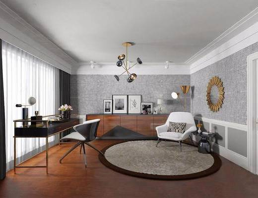 欧式简约, 吊灯, 桌椅组合, 柜, 装饰镜