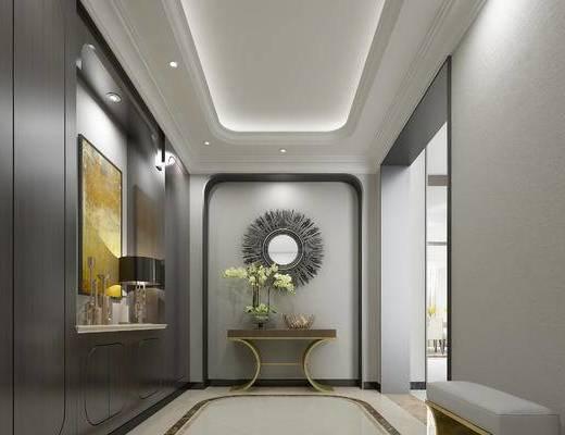 中式玄关走廊, 边几, 壁画, 台灯, 中式