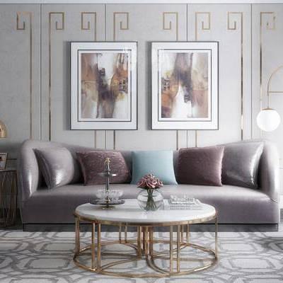 现代客厅, 茶几, 多人沙发, 壁画, 落地灯, 边几, 台灯, 椅子, 地毯, 现代