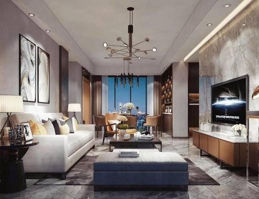 后现代客餐厅, 后现代, 客厅, 沙发, 现代吊灯, 电视柜, 茶几, 花瓶