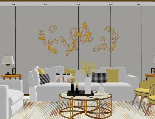 客厅, 沙发, 茶几, 餐厅, 餐桌, 椅子, 桌椅组合, 墙饰, 现代, 现代客厅, 现代餐厅