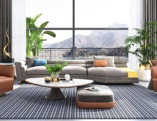 后现代客厅, 后现代沙发, 沙发茶几, 盆栽, 客厅