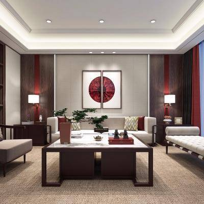 中式客厅, 壁画, 中式桌椅组合, 储物架, 中式茶几, 壁灯, 地毯, 中式