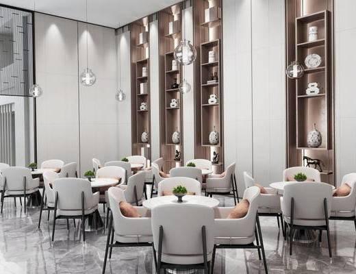 现代简约, 洽谈区, 桌椅组合, 置物柜, 吊灯, 陈设品组合