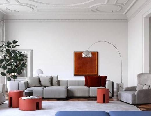 现代简约, 沙发茶几组合, 植物盆栽, 落地灯, 现代