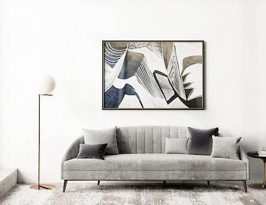 沙发组合, 多人沙发, 壁画, 圆几, 落地灯, 后现代