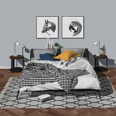 床, 床具, 现代, 北欧, 挂画, 边几, 台灯