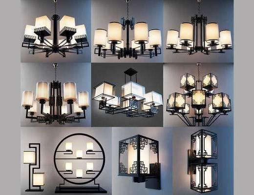 中式, 吊灯, 壁灯, 灯具