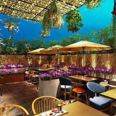 现代咖啡厅, 桌子, 椅子, 盆栽, 现代