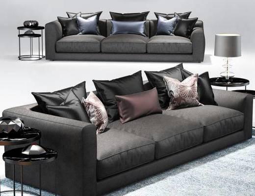 美式简约, 黑色沙发, 美式沙发, 多人沙发