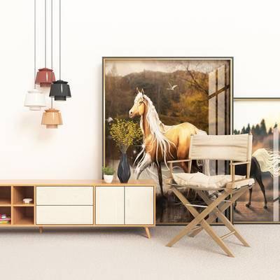 现代电视柜, 电视柜, 边柜组合, 单椅