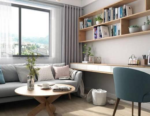 北欧书房, 书房, 书架, 置物架, 书桌, 椅子, 沙发茶几, 花瓶, 摆件