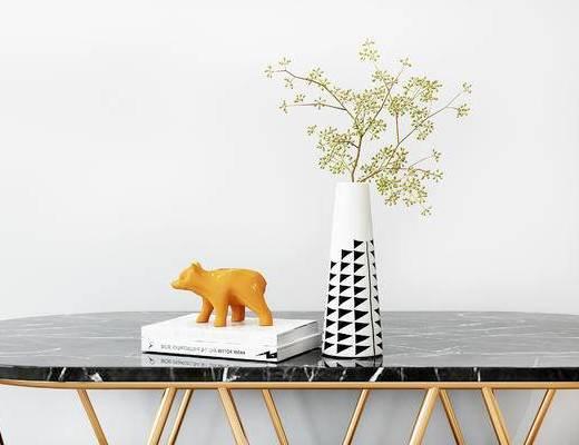 摆件组合, 桌子, 花瓶, 花卉, 书籍, 现代