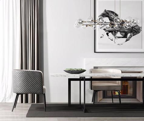 现代简约, 桌椅组合, 吊灯, 装饰画, 现代