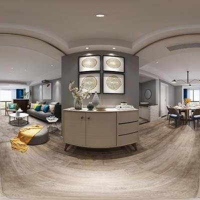 现代简约玄关, 玄光柜, 壁画, 沙发茶几组合, 沙发凳, 桌椅组合, 边柜, 吊灯, 茶几, 休闲椅, 现代简约
