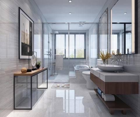 现代简约, 卫生间, 浴室, 洗手台