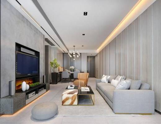 现代客厅, 多人沙发, 茶几, 沙发凳, 吊灯, 电视柜, 椅子, 桌子, 盆栽, 现代