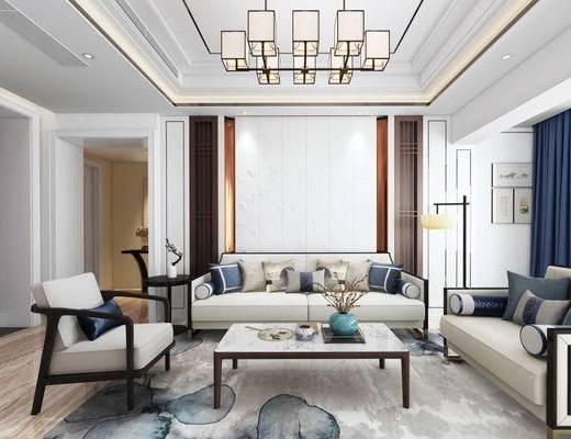 新中式, 客厅, 沙发茶几组合, 吊灯, 落地灯, 花瓶