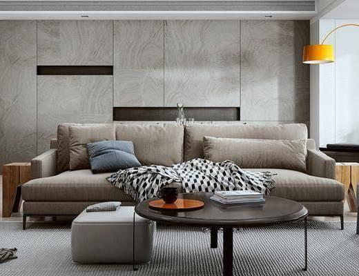 沙发组合, 双人沙发, 茶几, 椅子, 落地灯, 沙发凳, 现代