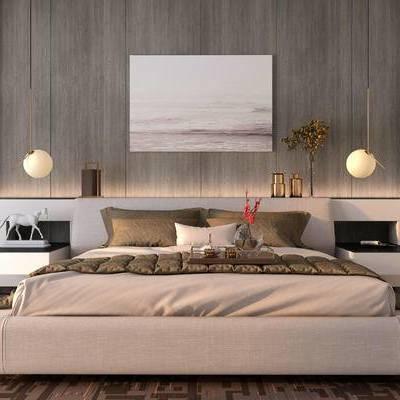 床具组合, 双人床, 壁画, 吊灯, 柜子, 现代
