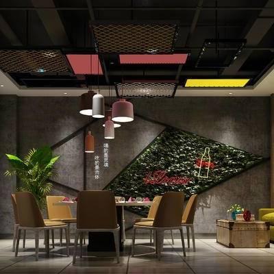 现代餐厅, 双人沙发, 吊灯, 桌子, 椅子, 壁画, 置物柜, 置物架, 现代