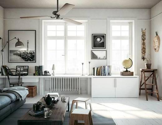 北欧简约, 客厅, 吊灯, 沙发茶几组合, 陈设品组合