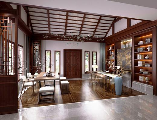 中式茶室, 中式会客厅, 中式植物架, 中式摆件, 桌椅组合, 中式茶具