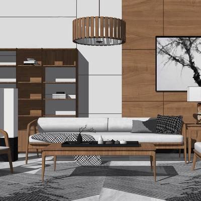 沙发组合, 吊灯, 新中式, 挂画, 台灯, 茶几, 边几, 置物架