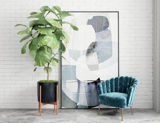 单椅, 盆栽, 装饰画, 北欧