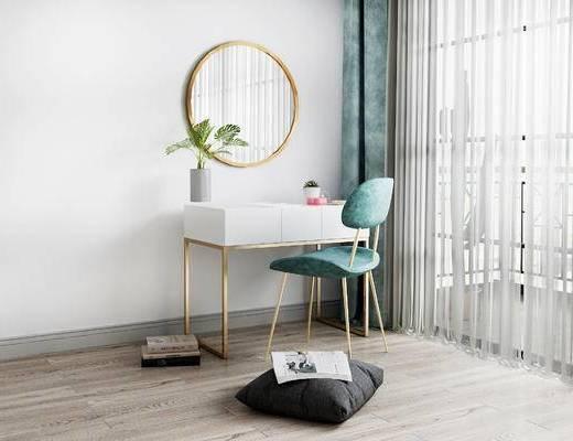 梳妆台, 桌子, 椅子, 北欧
