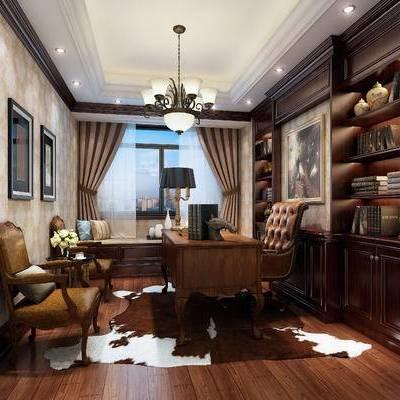 简欧书房, 桌子, 椅子, 吊灯, 置物柜, 壁画, 台灯, 边几, 简欧