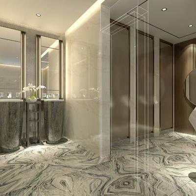 卫生间, 镜子, 洗手台, 边几, 盆栽, 小便器, 中式