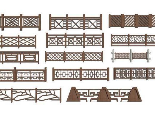 栏杆, 中式, 实木, 装饰