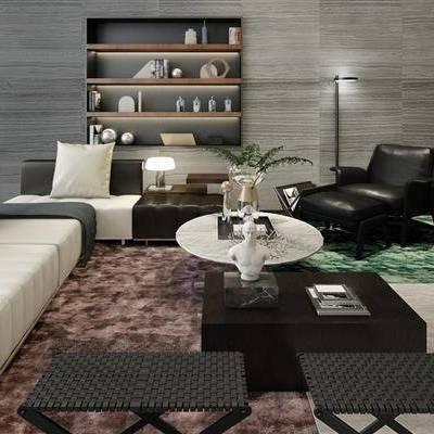 沙发茶几组合, 置物柜, 陈设品组合, 现代, 客厅