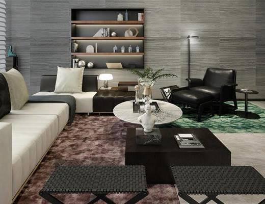 现代简约, 别墅客厅, 沙发茶几组合, 置物柜, 陈设品组合