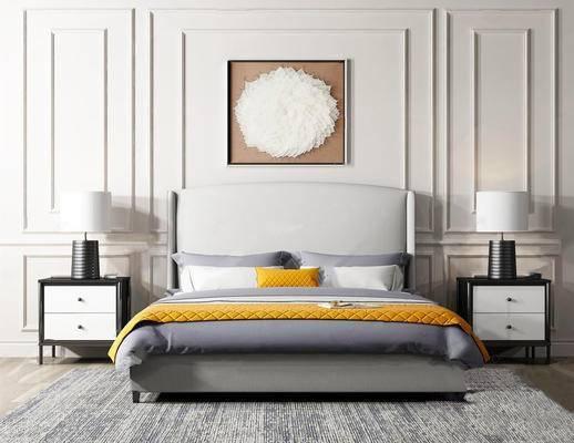现代简约, 床具, 台灯, 床头柜, 墙饰