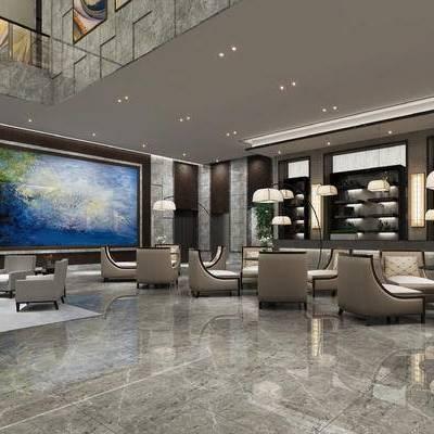 会客区, 壁画, 多人沙发, 桌子, 椅子, 茶几, 落地灯, 置物柜, 吊灯, 现代