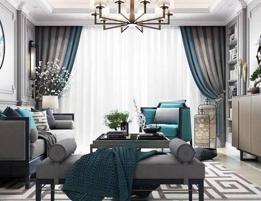 新中式客厅, 壁画, 吊灯, 多人沙发, 茶几, 电视柜, 椅子, 沙发躺椅, 边几, 台灯, 新中式