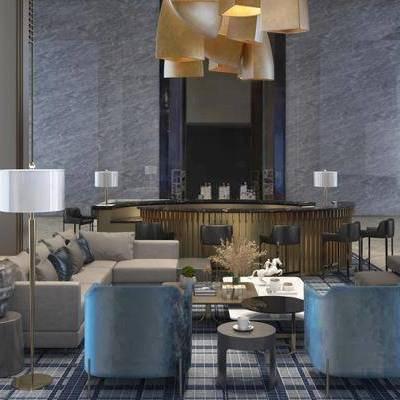 洽谈区, 吊灯, 多人沙发, 茶几, 椅子, 边几, 落地灯, 吧台, 吧椅, 现代