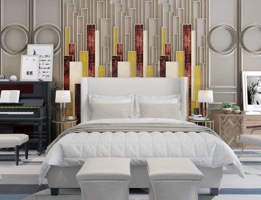 床具组合, 双人床, 壁画, 床头柜, 台灯, 沙发凳, 钢琴, 边几, 欧式