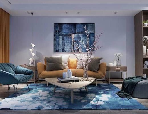 北欧, 沙发, 茶几, 摆件, 置物柜, 吊灯, 挂画, 花瓶
