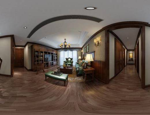 美式客厅, 皮革沙发, 茶几, 吊灯, 边几, 台灯, 美式桌椅组合, 花瓶, 壁灯, 柜子, 沙发椅, 酒杯, 地毯, 美式