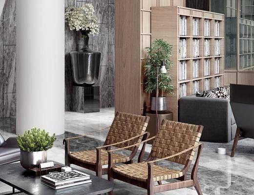 图书馆, 桌子, 椅子, 置物柜, 盆栽, 多人沙发, 茶几, 落地灯, 现代